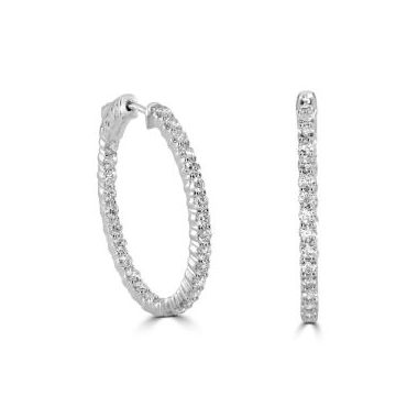 18k White Gold 2.07 Carat Oval Diamond Hoop Earrings