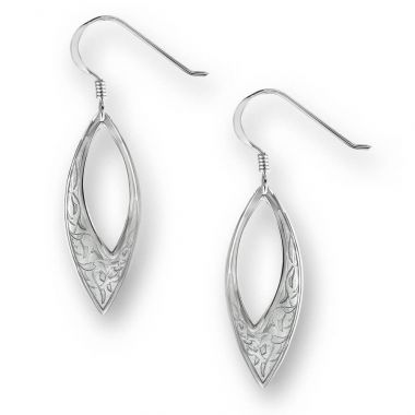 Nicole Barr Sterling Silver Marquis Wire Earrings-Gray.