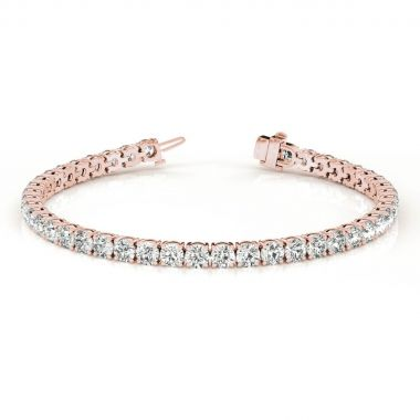14k Rose Gold 2.75 Carat Diamond Tennis Bracelet