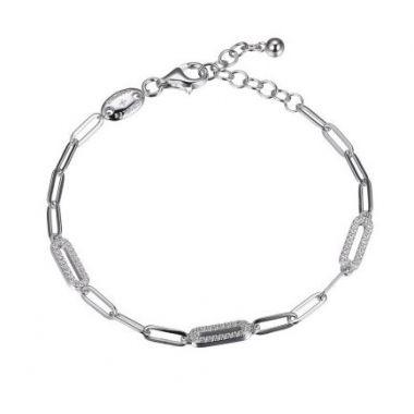 Charles Garnier 925 Paper Clip Bracelet 3 CZ Links