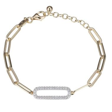 Charles Garnier 925 Paper Clip Bracelet with CZ Link-Yellow