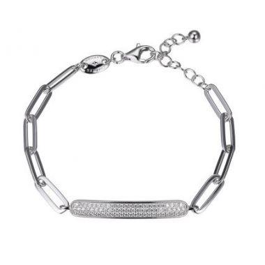 Charles Garnier 925 Paper Clip Bracelet with Pave Cz Motif