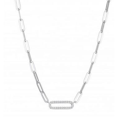 Charles Garnier Paper Clip Necklace with CZ Link