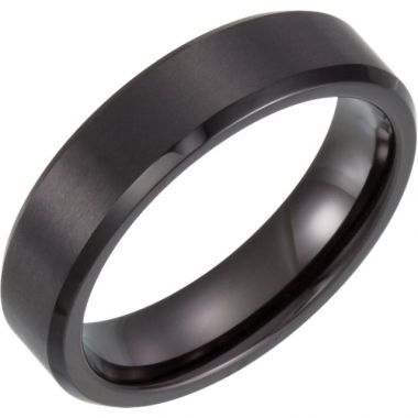 Mens Black Titanium 6mm Satin Band