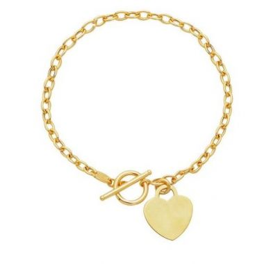 "14kt 7.50"" Yellow Gold Diamond Cut Oval Chain Link Bracelet with HEarRingt with Toggle Lock"