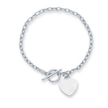 """14kt 7.50"""" White Gold Diamond Cut Oval Chain Link Bracelet with HeartRingt+Toggle Lock"""