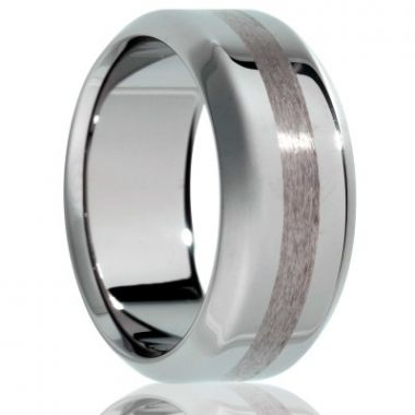 Gents Satin/Polised Finish Tungsten Wedding Band