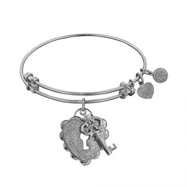 Angelica Adjustable White Brass Key To My Heart Bangle