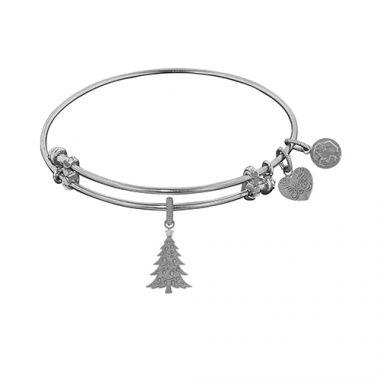Angelica Adjustable White Brass Christmas Tree Bangle