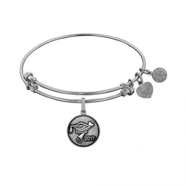 Angelica Adjustable White Brass Finish Class Of 2017 Graduation Cap and Diploma Charm Bangle