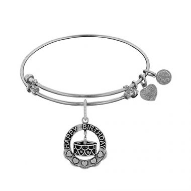 Brass White Finish Happy Birthday Charm on White Angelica Bangle