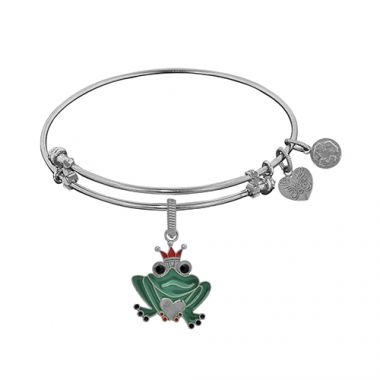 Angelica Adjustable White Brass Finish Frog Charm On White Bangle