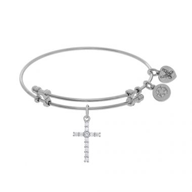 Angelica Adjustable White Brass Cross Charm Bangle