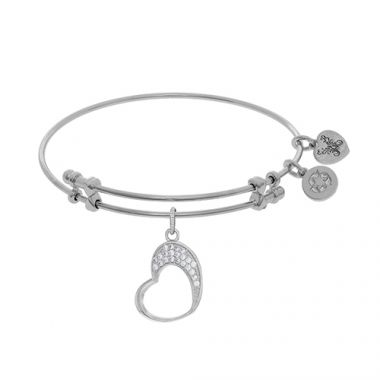 Angelica Adjustable White Brass Open Graduated Heart Charm Bangle