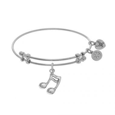 Angelica Adjustable White Brass Music Sign Charm Bangle