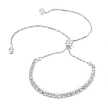 Sterling Silver Diamond Coated CZ Bolo Bracelet