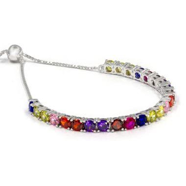 Multi Color Sterling Silver Bolo Bracelet
