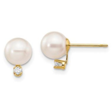 14k White Round Saltwater Akoya Cultured Pearl Diamond Post Earrings