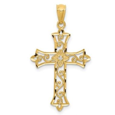 14k Yellow Gold Diamond Filigreed Cross Pendant