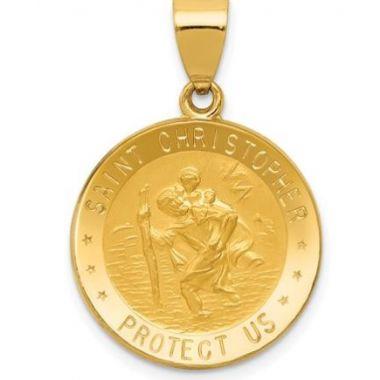 14k Medium Polished and Satin St.Christopher Medal Pendant