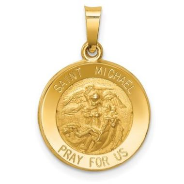 14k Small Polished and Saint St. Michael Medal Pendant