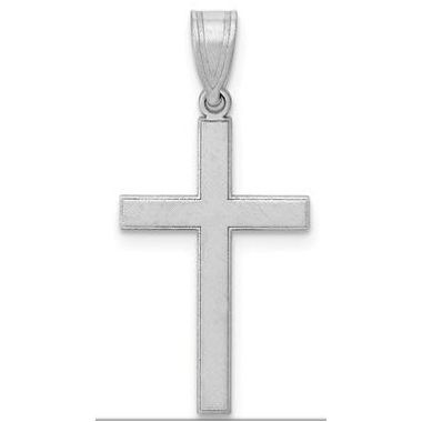 14k White Gold Florentine Latin Cross Pendant