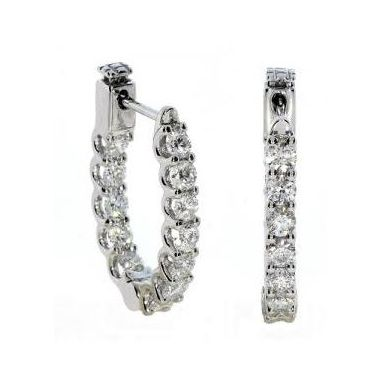 18k White Gold 1.72 Carat Diamond Hoop Earrings