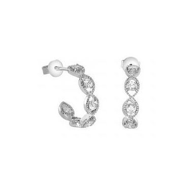 18k White Gold Diamond Hoop Fashion Earrings