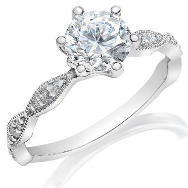 Classique 14k White Diamond Engagement Ring (.12tw)